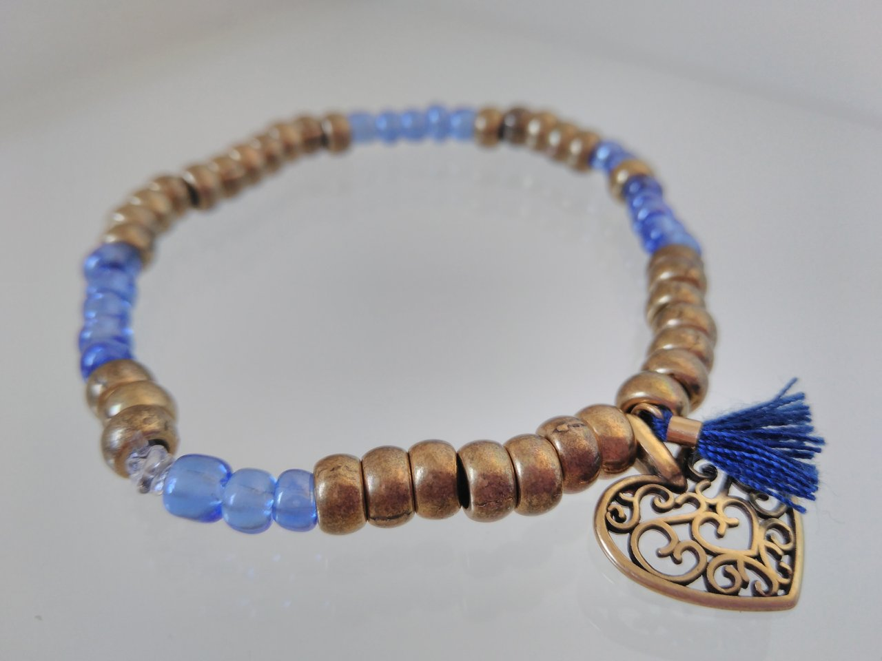 BRASS ZAMAK BEADS BRACELET WITH A HEART