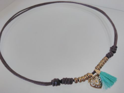 BRASS ZAMAK BEADS NECKLACE WITH HEART